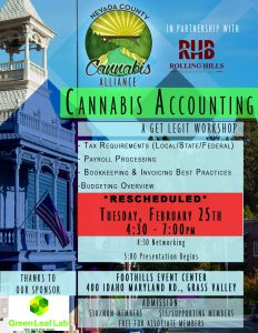 Cannabis Accounting: Taxes, Payroll, Banking and Budgeting: A Get Legit Workshop