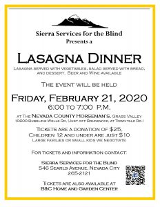 Sierra Services for the Blind Annual Lasagna Dinner